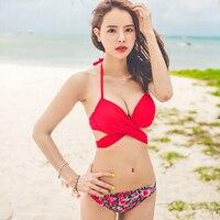 Red Sexy Bikini Swimwear Woman Push Up Swimsuit Bikini Set Korean Style Bandeau Top Bathing Suit
