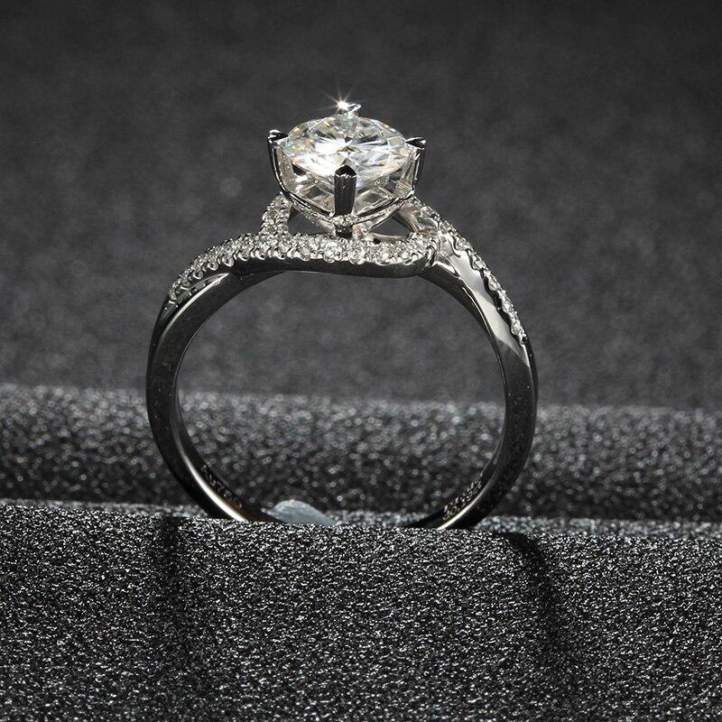 6.5mm 1.0ct Round Cut Moissanite Diamond Ring Swirl Frame Bypass ...