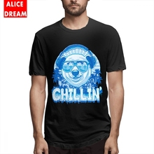 Men Polar Bear Chillin With Sunglasses And Headphones Tee Shirt Graphic 100% Cotton BONADIAO Homme T