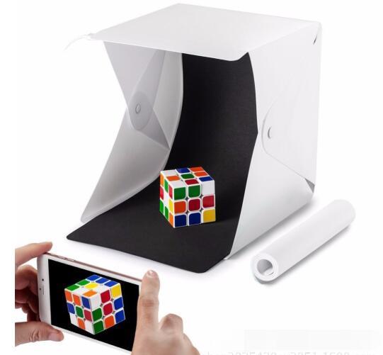 Mini dobrável novo portátil lightbox difusor caixa macia com luz led preto branco fotografia fundo photo studio acessórios