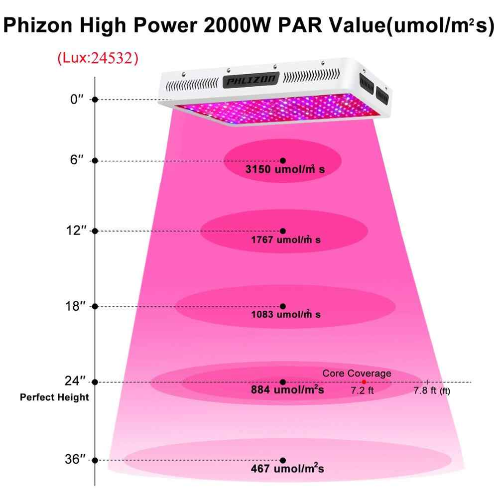 Phlizon Светодиодная лампа для выращивания растений 2000 Вт Садоводство светодиоды культура Крытый полный спектр цветок светло-красный синий 220 В