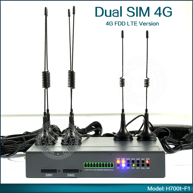 Dual SIM Industrial 4G FDD LTE WiFi Wireless Router 100Mbps Unlock Hotspot For M2M Application Support GPS ( Model: H700t-F1 )