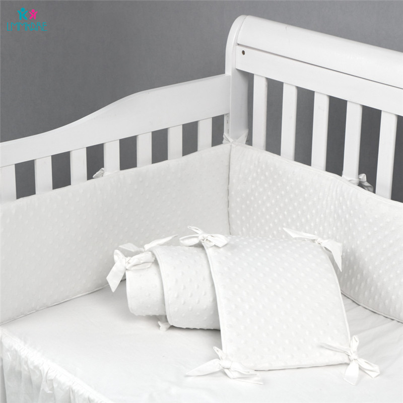 Cotton Soft Dot Baby Bed Bumpers Newbron Baby Crib Liner Pad White Puff for Baby Girls