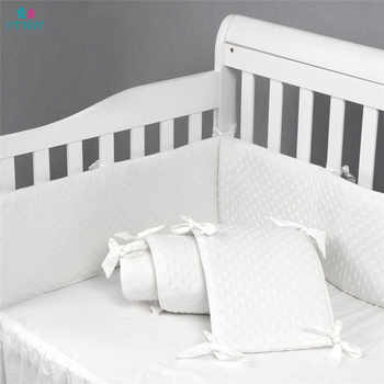 Cotton Soft Dot Baby Bed Bumpers Newbron Baby Crib Liner Pad White Puff for Baby Girls Boys Safe Bumper Guards Crib Rail Padding - DISCOUNT ITEM  5% OFF All Category