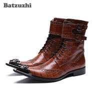 Batzuzhi/ковбойские Мужские ботинки в ковбойском стиле, ботильоны из натуральной кожи черного и коричневого цвета, мужские ботинки с острым мет