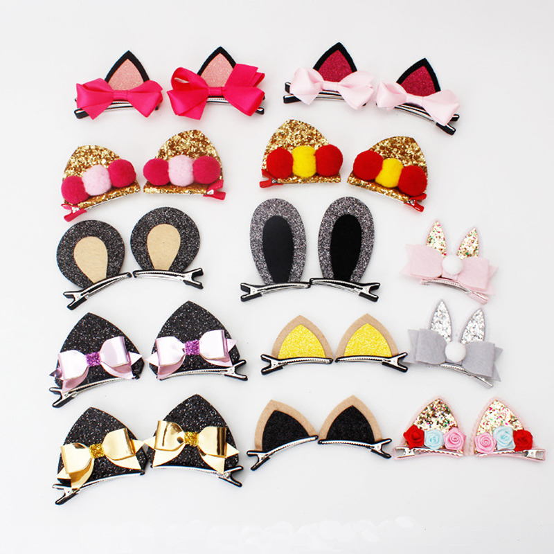 2pcs New Stereo Double Cat Ears Clip With Sequins Ears Girlss