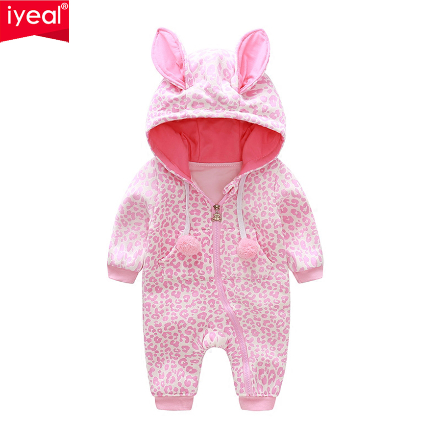 IYEAL New Arrival 2018 Spring Newborn Baby Romper Leopard print Long Sleeve Kid Baby Girl Boy Jumpsuit Hooded Infant Clothes newborn baby infant boy girl fashion romper hooded jumpsuit bodysuit outfits clothes
