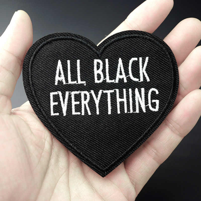 Black Heart Size:7.5x7.9cm Patch for Clothing Iron on Embroidered Sew Applique Cute Fabric Badge DIY Apparel Accessories