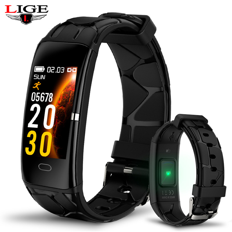 Black Super Texture Strap Smart Watch Men Sports Fitness Activity Heart Rate Tracker Ladies Waterproof Blood Pressure Wristband