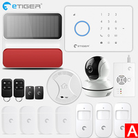 eTiger S3b GSM Alarm System home alarm Kit with PIR motion sensor IP wifi camera Wireless Smoke Detector