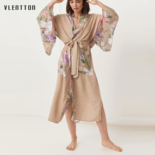 Boho Vintage Floral Print Cardigan Kimono Women Bohemian V Neck Sashes Batwing Sleeves Ladies Long Blouses Shirt Tops Blusas