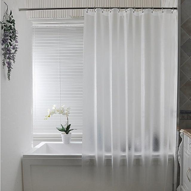 WARM TOUR Bath Shower Curtain Grind Arenaceous Translucent Solid Color Europe Mildew Proof Waterproof PEVA Fabric