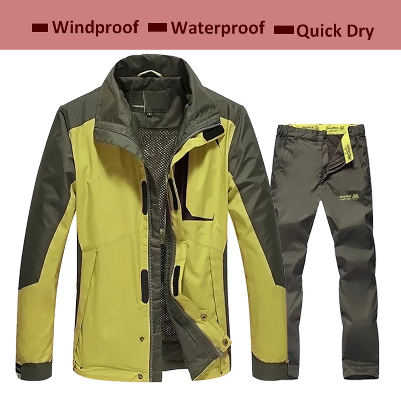 Spring Autumn Hiking Suit Men Trekking Jacket Pant New Mens Fishing Coat Outdoor Jaqueta Camping Hiking Sport Jacket Pants 1 Set