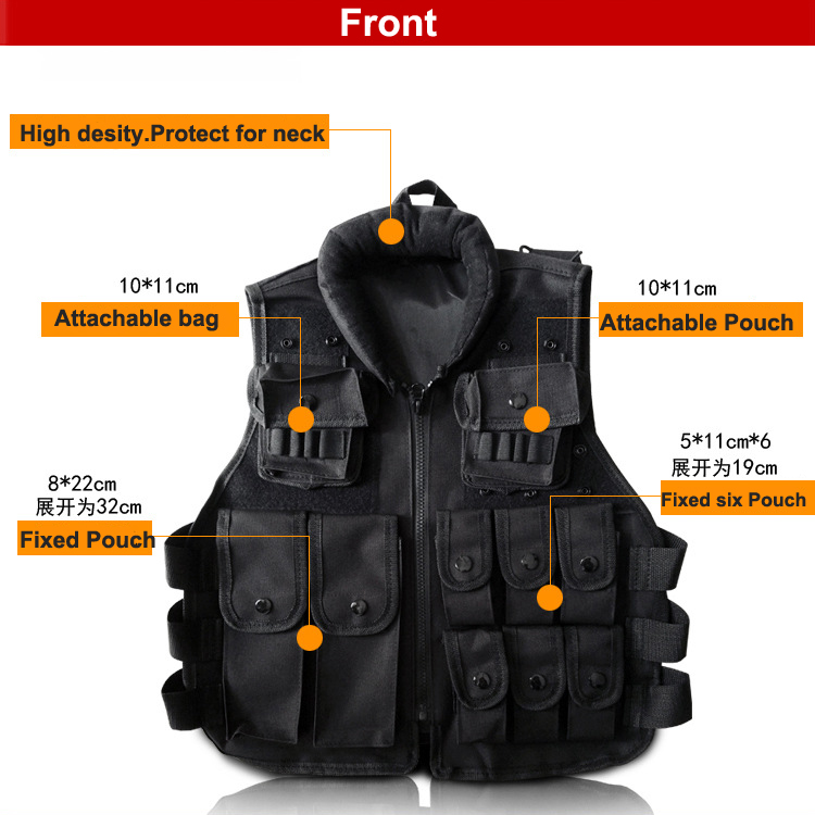 Black Kids Tactical Vest for games and trainning Scouting vest Ripstop Cosplay children Vest