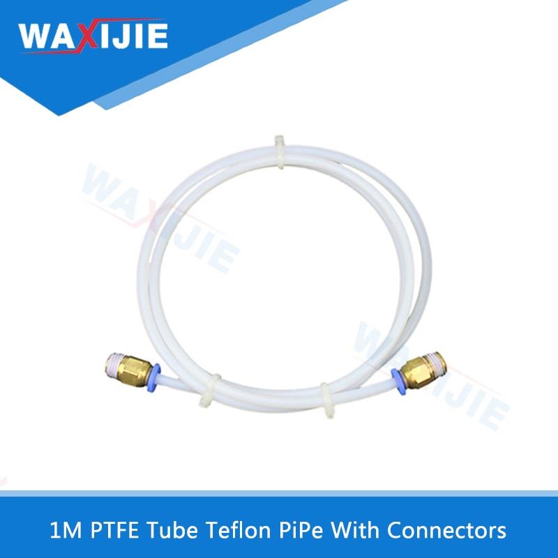 5Pcs/Lot 1Meter Teflon PTFE Tube With Connectors For V5 V6 J-head 1.75mm 3.0mm Filament Bowden Long Extruder Part DIY 3D Printer