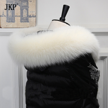 JKP* Winter 100% Genuine Real Natural Fox Fur Collar Women Scarf Fashion Coat Sweater Scarves Luxury Raccoon Fur Neck image