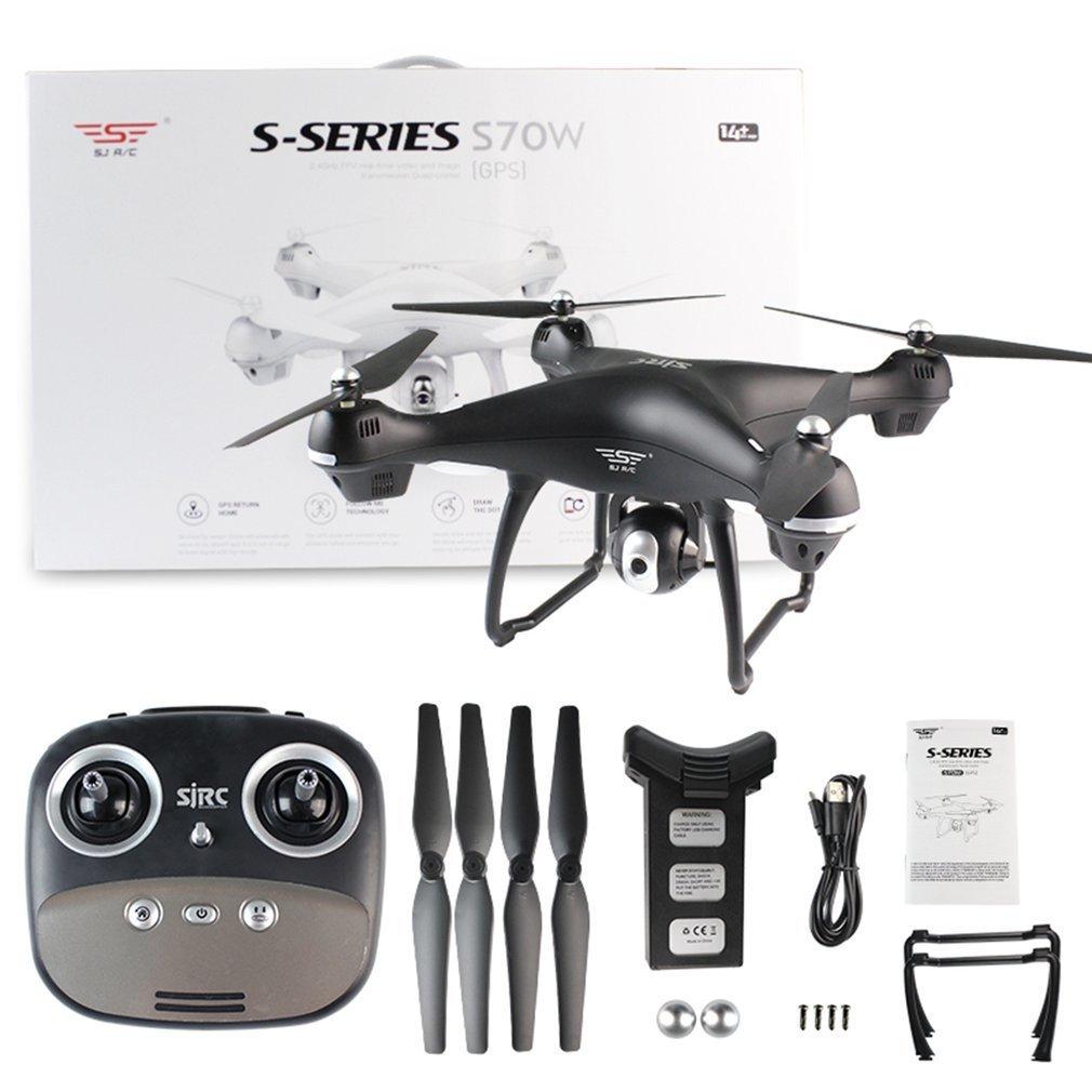 S70W Drone avec Caméra 1080 p HD 4 Axes 90 Degrés Grand Angle Double GPS-2.4GHz WiFi/FPV Drone Quad copter RC Hélicoptères Avions