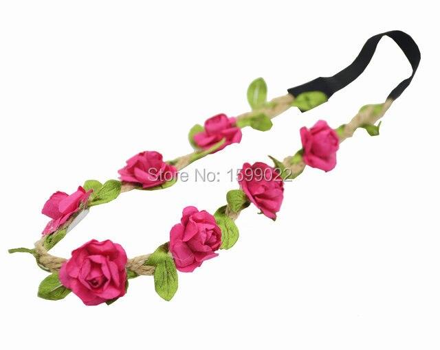 3 шт./лот повязка на голову с цветком для девушек аксессуары для лба для женщин фуксия Свадебные украшения конопляная повязка богемный голов...