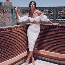 2019 new arrival women sexy crop top + lace skirt set femme dresses
