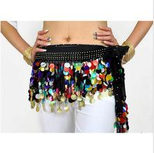 Golden Coins Shining Colorful Sequin Bead Belly Dance Hip Scarf Wrap Belt Hot Sale Wholesale