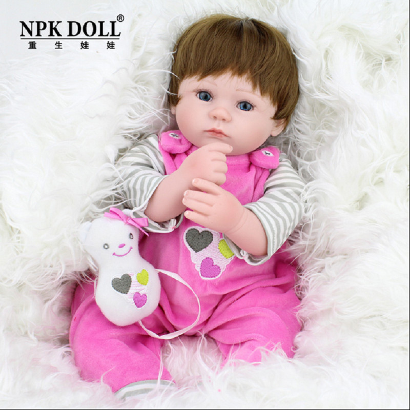 17 Silicone Reborn Babies Doll Handmade Soft Vinyl Newborn Baby Dolls Lifelike Girls Toddler Doll Toys for Children Xmas Gift short curl hair lifelike reborn toddler dolls with 20inch baby doll clothes hot welcome lifelike baby dolls for children as gift