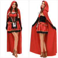 Women Hallowmas Stage Performance Costume Clothing New Little Red Riding Hood Cosplay Uniform Cloak+ Dress+Gloves