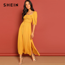 SHEIN Ginger Party Knot Front Shirred Panel Square Neck Drawstring Ruffle Split Dress Women Elegant Half Sleeve Spring Dresses