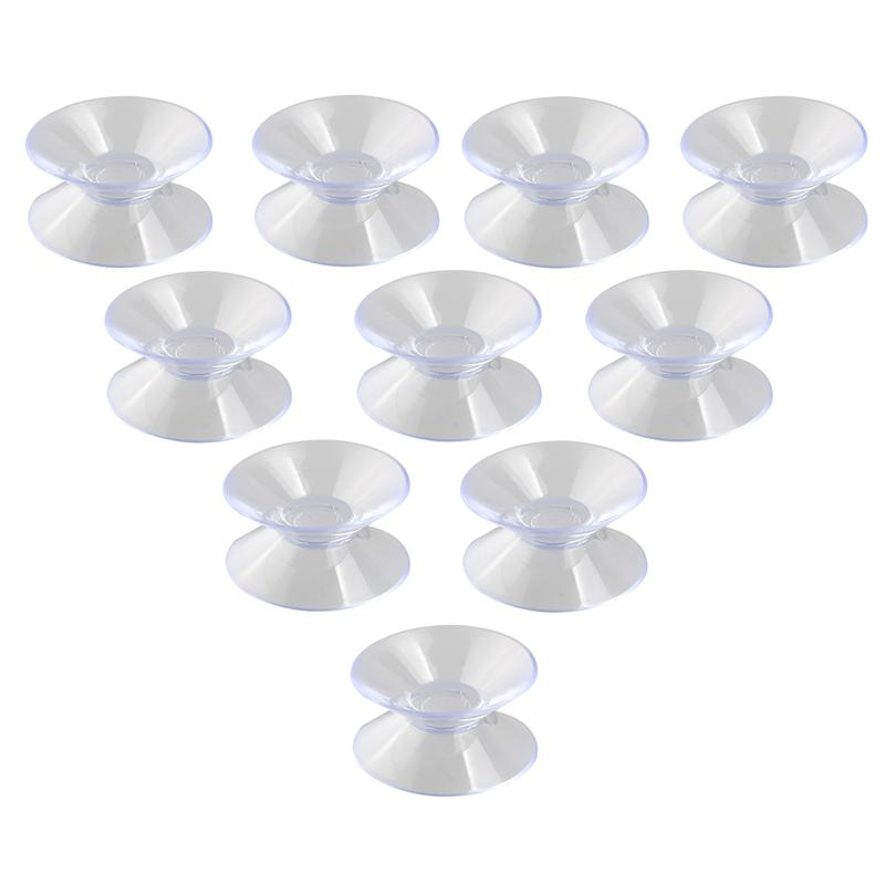 10pcs 30mm Double Sided Suction Cups Sucker Pads For Glass Plastic (Transparent)