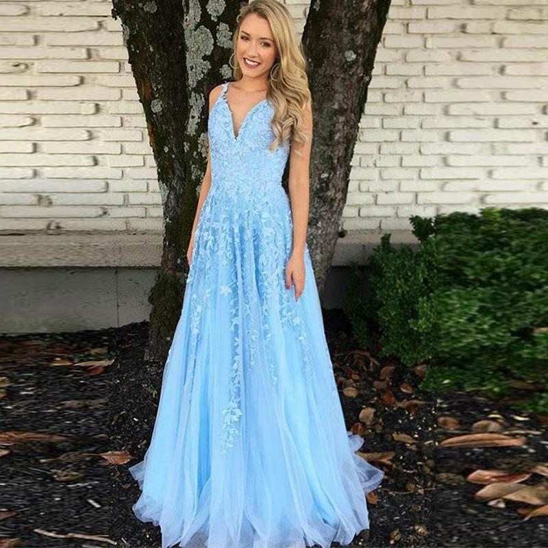 Elegant Evening Dress V Neck 2019 Women's Tulle Lace Appliques New Sexy Backless Prom Dresses Abendkleider Robe De Soiree Long