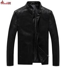 حجم كبير 6XL 7XL 8XL رجالي سترات من الجلد دراجة نارية موضة ذكر Vintage بولي Coats معاطف السائق فو الجلود موضة ملابس خارجية