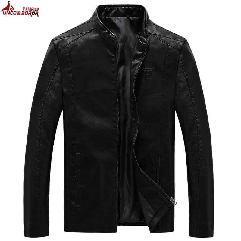UNCO&BOROR Plus Size M~7XL 8XL Men's PU Jackets Coats Motorcycle Leather Jackets Men Autumn Leather Clothing Male Casual Coats