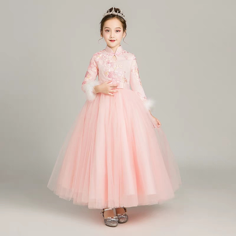 Girls Children Autumn Thick Pink Chinese Style Cheongsam Dress Kids Teens long-sleeves Guzheng Costume Long Dress baby Tang suit pink lace up design cold shoulder long sleeves hoodie dress