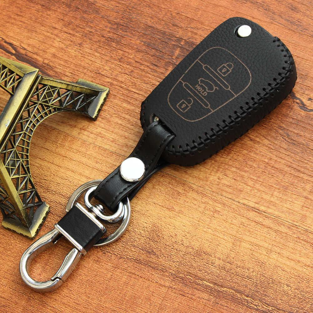 Высокое качество ручной работы кожаная крышка ключа для Kia Rio K2 K5 Sportage Sorento Soul Pro Ceed Cerato Hyundai Verna, 3 Пуговицы раза