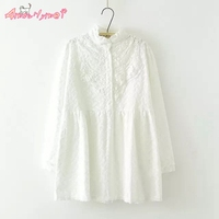 Stand Collar Long Sleeved Flower Embroidery Lace White Shirt Mori Girl Spring New Cotton Women Blouse
