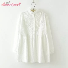 Stand-Collar Long-sleeved Flower Embroidery Lace White Shirt Mori Girl Spring New Cotton Women Blouse Tops blusas femininas
