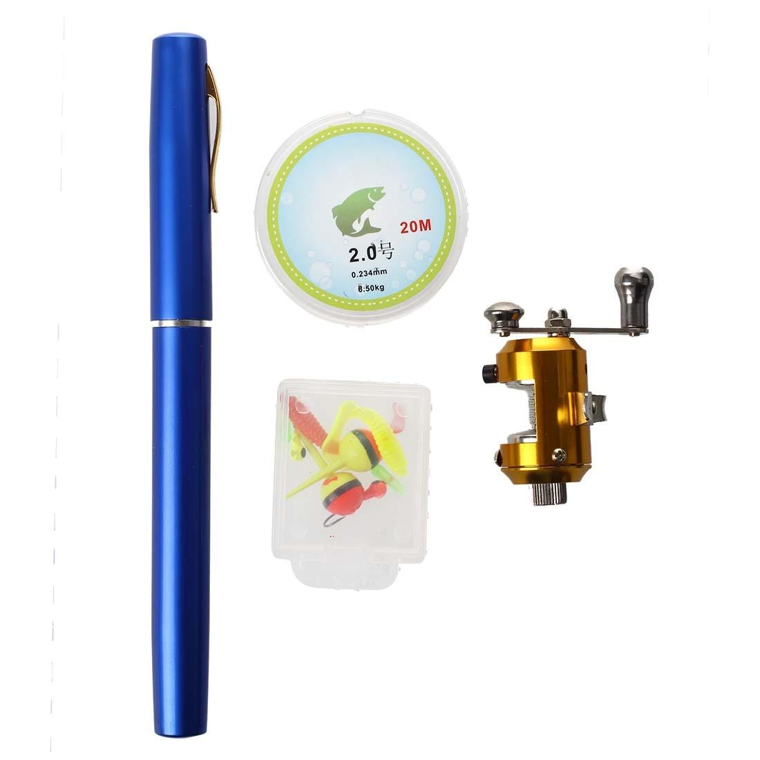 Details about Portable Pen Fishing <font><b>Rod</b></font> Pole + Mini Fish Reel Wheel + 20m Fishing Line 6K30 Blue