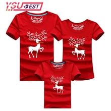 Семейные комплекты с рождественским оленем; одежда для мамы и дочки; семейная футболка; одежда для мамы и сына; хлопковая одежда для папы и сына