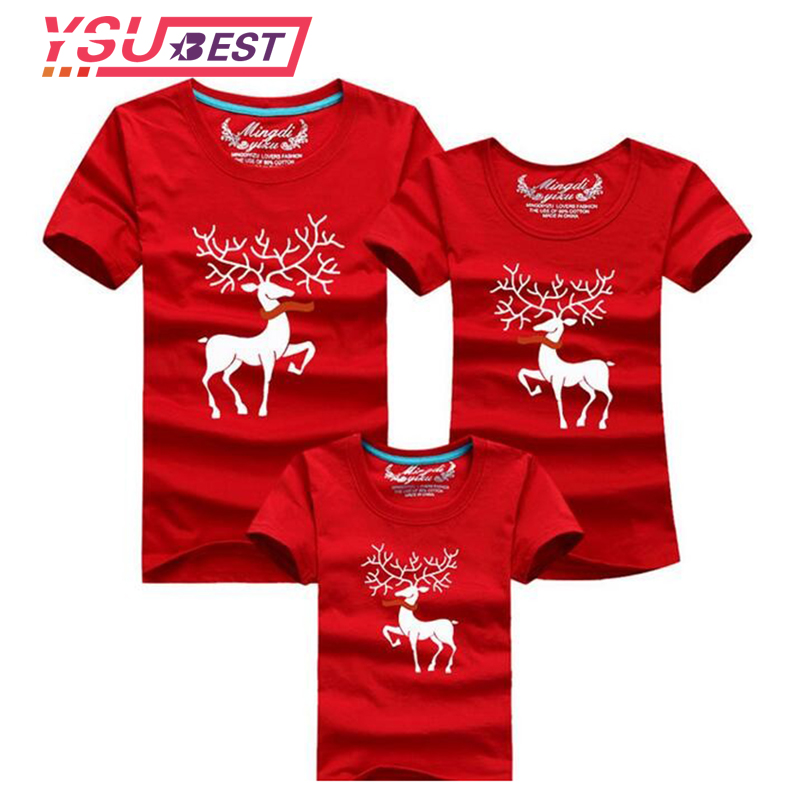 Christmas Deer Family Matching Clothing Mother Daughter Clothes Family Look T-shirt Mother Son Outfits Cotton Dad Son Clothes