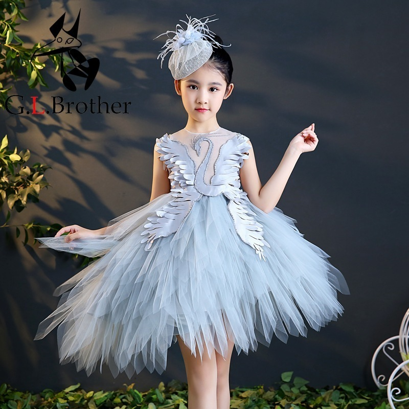 Gray Flower Girl Dresses For Wedding Swan Feather Princess Party Gowns Beading Ball Gown Kids Pageant Dress For Birthday Costume kids evening gowns pearl beading flower girl dresses for wedding ball gown appliques girls pageant dress birthday costume b100