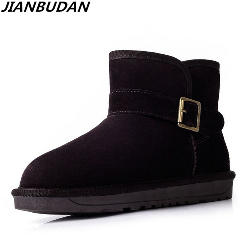 JIANBUDAN Frosted leather warm snow boots, belt buckle non-slip winter woman snow shoes, high-quality plush cotton boots 35-40 jianbudan 2017 new winter high quality cotton shoes men and women indoor warm slippers non slip mute home cotton drag