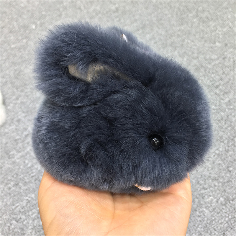 100% real rabbit fur Papa bags decorative pendant car rearview mirror fur charm pendant Rex rabbit fur keychain