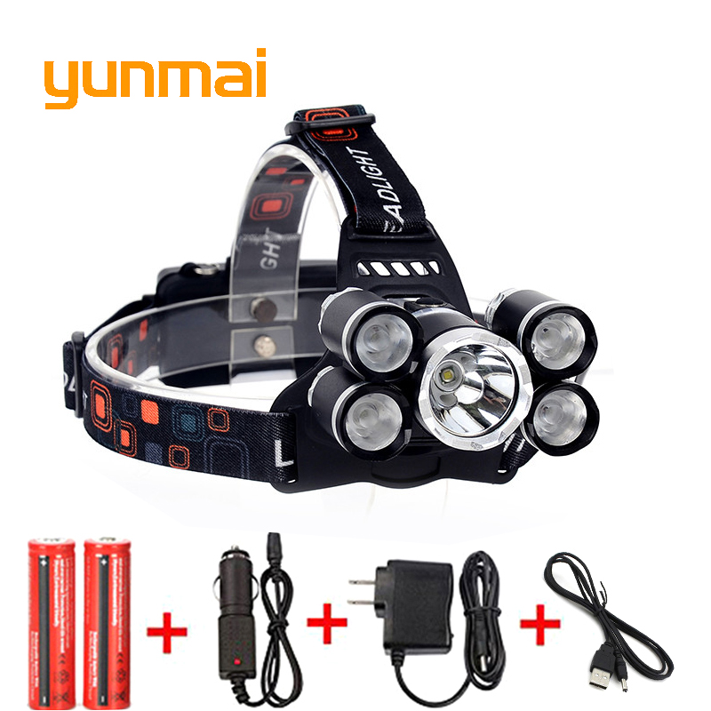 USB 12000 Lumen 5 Led Headlamp XML T6+4Q5 Head Lamp Powerful Led Headlight Head Torch 18650 Rechargeable Fishing Hunting Light 8000lm usb rechargeable head lamp torch xml t6 cob led white red light headlamp frontal led running headlight usb cable by 18650