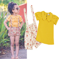 2016 Nuevo Verano Niñas Establece Niñas Trajes de Moda 2 unids Tshirt + Shorts Del Bebé Ropa Infantil Floral Baby Girl ropa