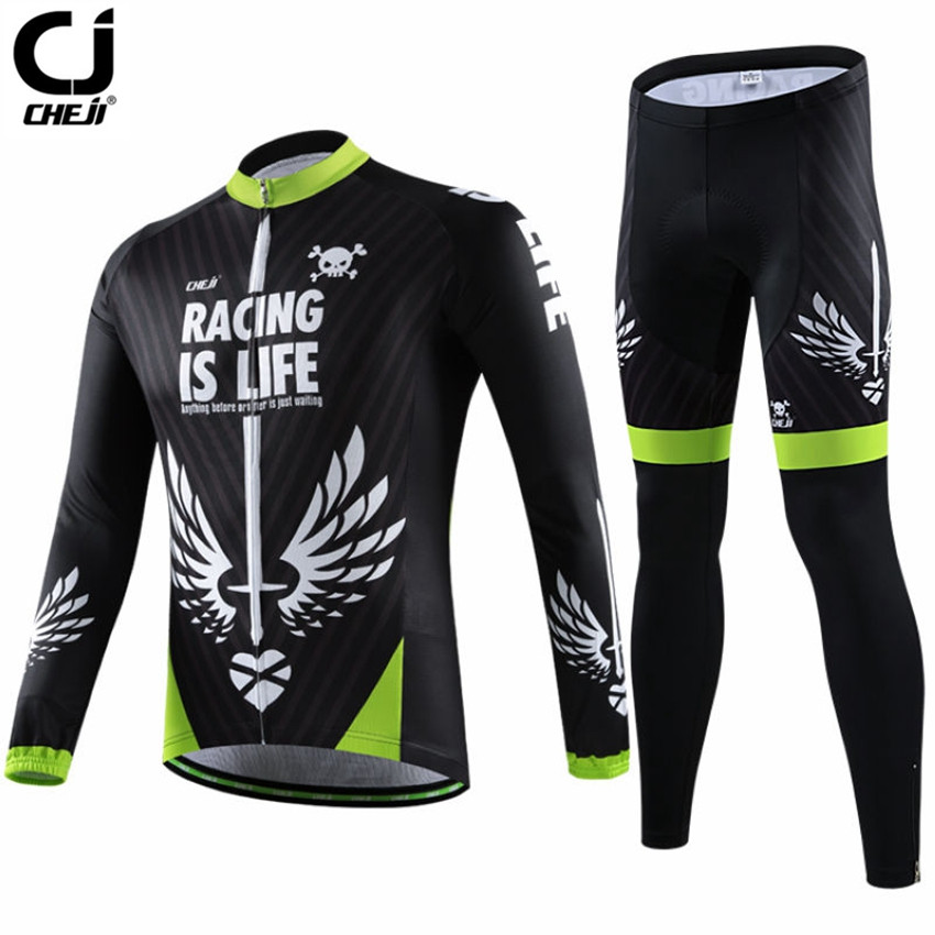 CHEJI Men Long Sleeve Cycling Jersey Bike Breathable Cycling Sportswear Mtb Maillot Cycling Clothing GEL Padded CC1449 cheji women mtb cycling jersey sets bike outdoor sportswear maillot clothing quick dry cycling clothing long sleeve jersey
