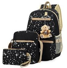 Adrette 3 teile/satz mädchen schultaschen für jugendliche druck leinwand frauen rucksack mochila feminina reisetasche männer rucksäcke