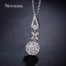 NEWBARK Luxury Silver Color Necklace Long Crystal Butterfly Flower Geometrical Pendant Pave Cubic Zirconia Fashion Cute