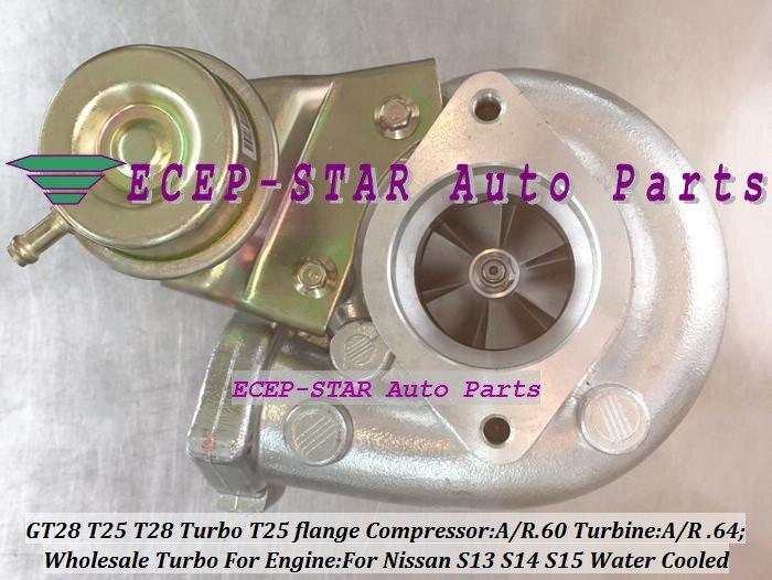Бесплатная доставка T25 T28 T25T28 T25/28 Turbo турбонагнетатель для Nissan S13 S14 S15 SR20DET Comp/R. 60 турбина AR. 64 T25 фланец воды C