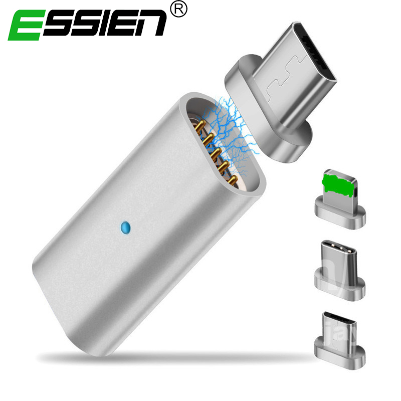 Essien Micro USB Connector Magnet Adapter OTG Type-C USB To Type-C / For IPhone Apple / Micro USB Charger Cable Magnetic Adapter