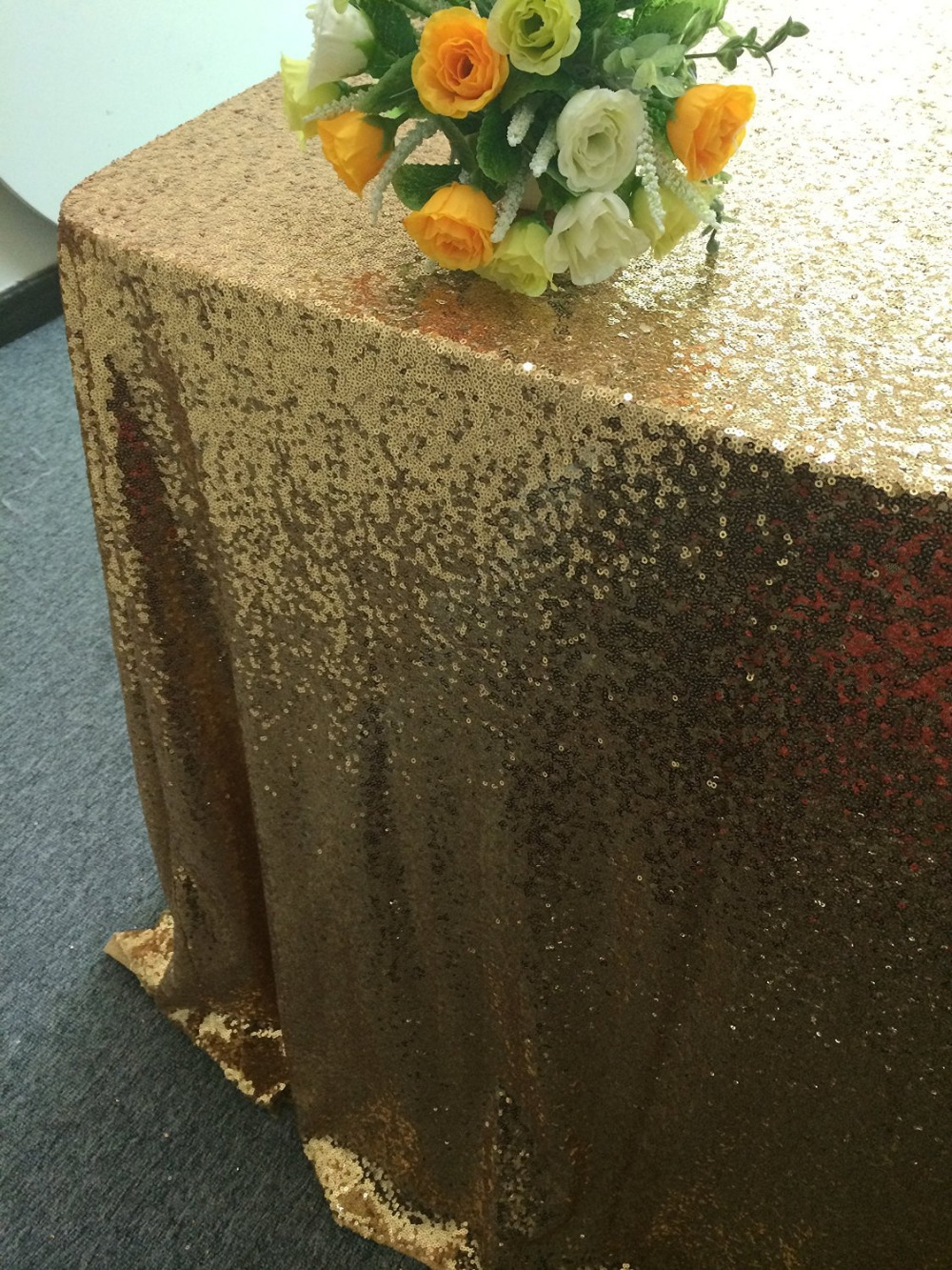 Gold Sequin Tablecloth- Glitz Sparkly Sequins-90x120in Rectangle- Choose Any Size - Event Home Decor Glam Sparkle Gatsby Party