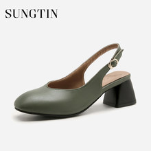 Sungtin 2018 New Classic Slingback Pumps Women Block High Heels Office Lady  Shoes Summer Casual Square acd61bef4263
